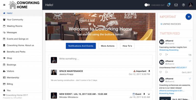 Coworking Software Member Portal