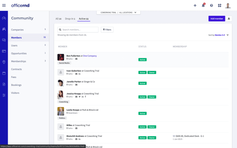Software Demo Screen – Complete View of Member Lifecycle