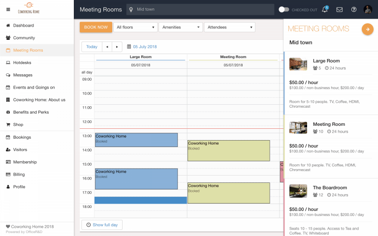 Software Demo Screen – Meeting Room Booking Management