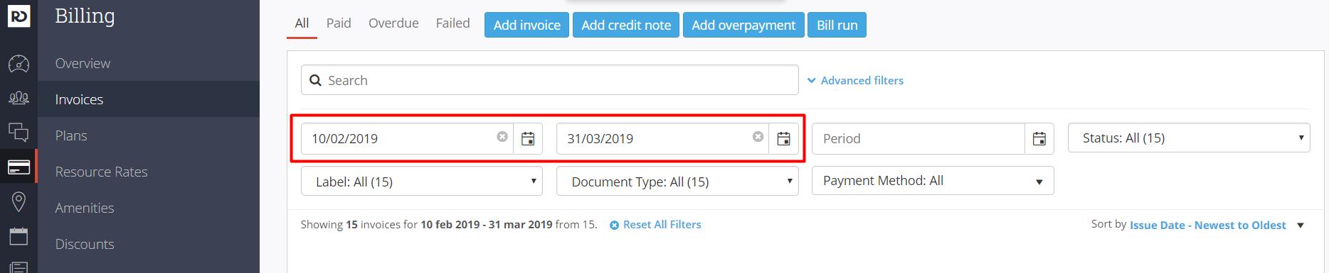 OfficeRnD Invoice Filters
