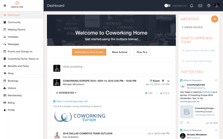 Coworking Software Demo - Desktop