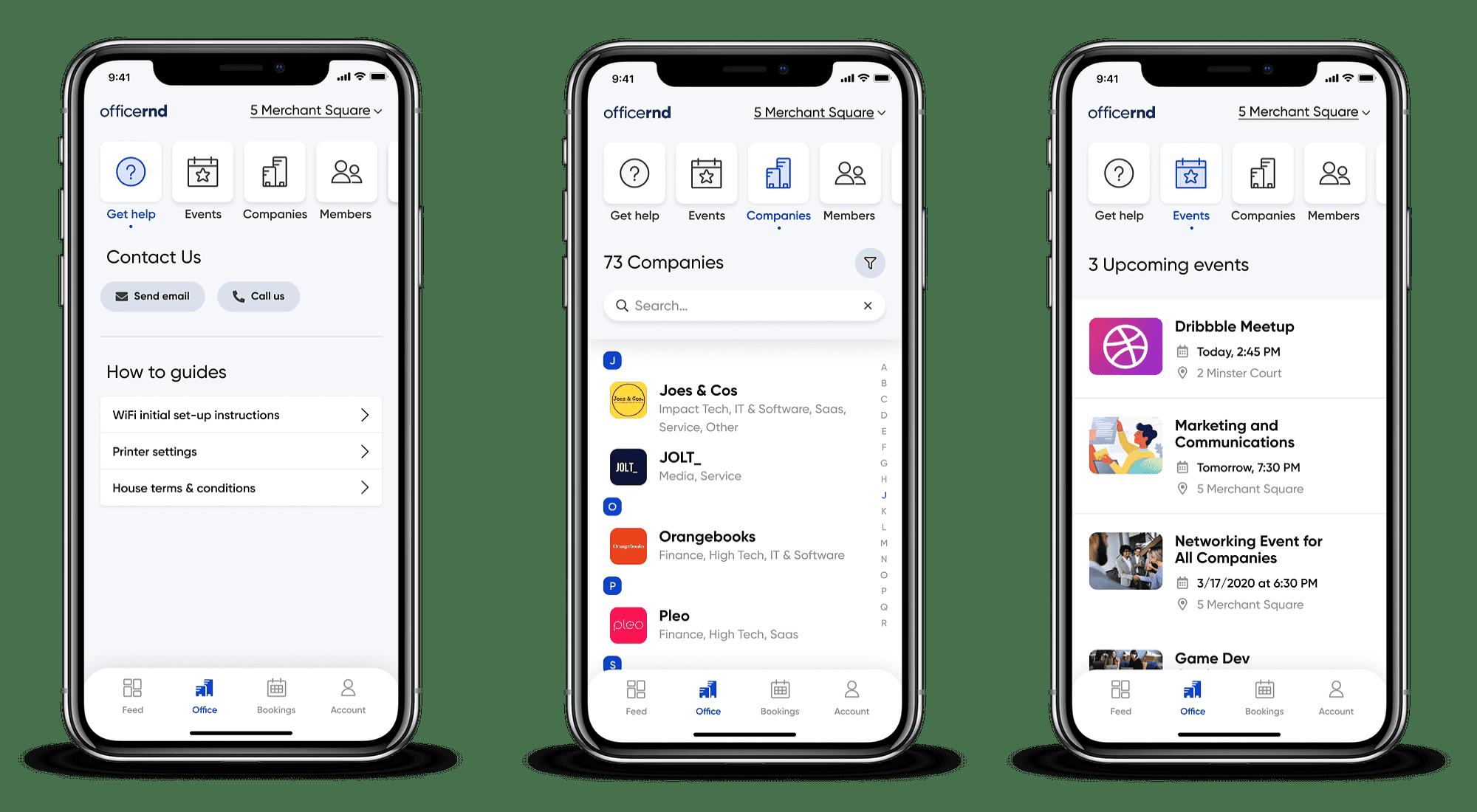 OfficeRnD mobile app workspace