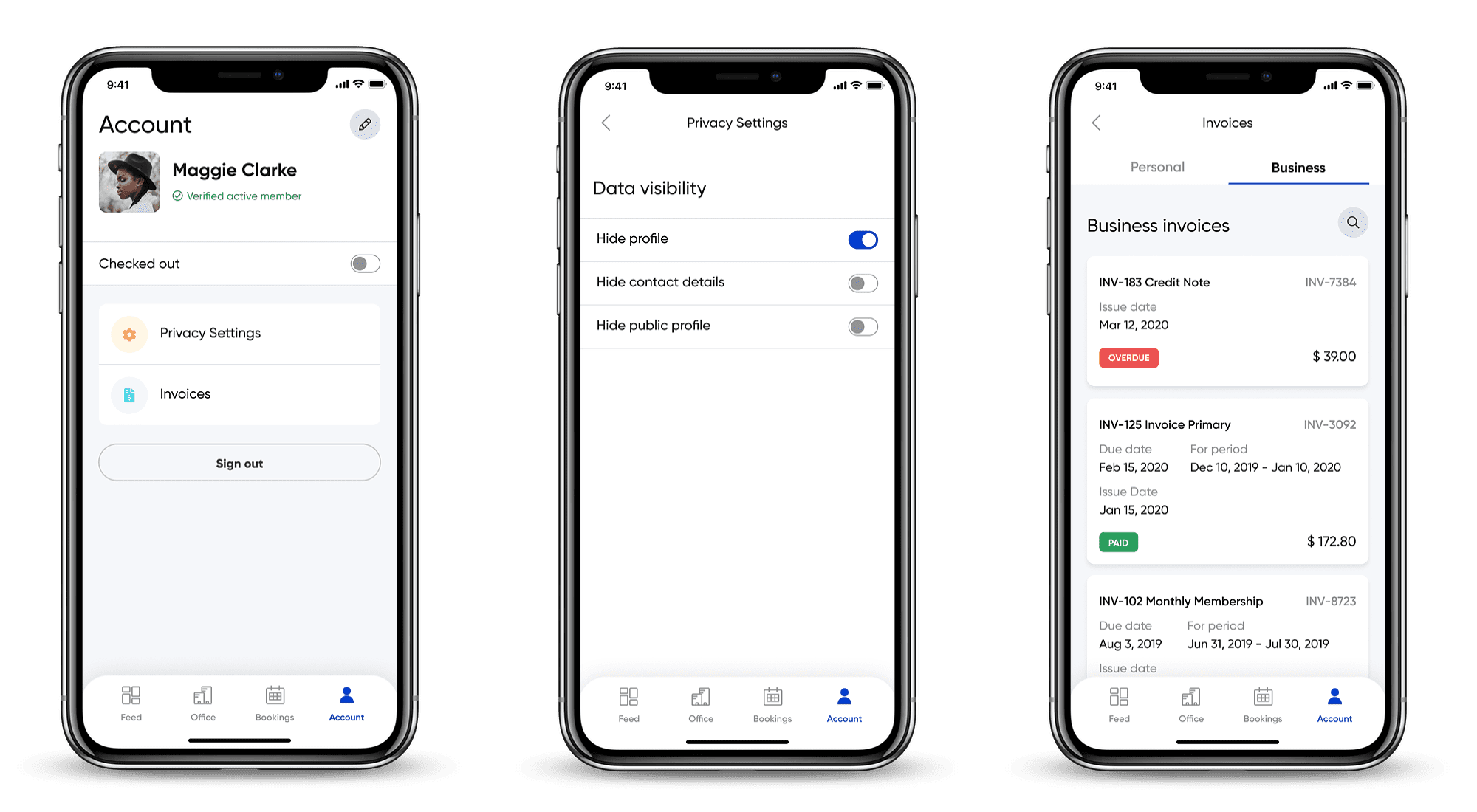 OfficeRnD mobile app account and billing